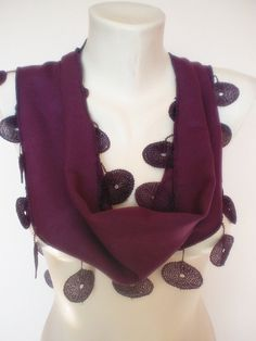 New Design Pashmina scarf with lace purple by smilingpoet on Etsy, $18.90