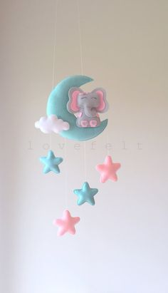 Baby mobile moon mobile elephant mobile moon by lovefeltmobiles