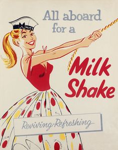 All aboard for a milkshake - vintage illustration