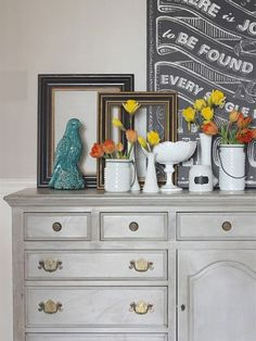 Myra, of @myblessedlife bought this old dresser from a ReStore for her son's bedroom. But it was the right size and shape for a dining room buffet, so she updated it with gray chalk-finish paint and used it as a buffet instead.