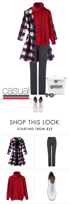 """""""Casual outfit: Gray - Red - White"""" by downtownblues ❤ liked on Polyvore featuring MANGO and Shellys"""