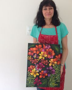 Obra de Angela, alumna de 1er año del Profesorado de #pinturadecorativa #art #flower https://j.mp/decorativa