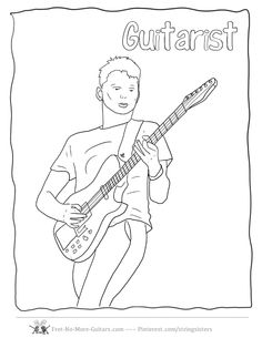 Guitar Player Coloring Pages At Fret No More Guitars