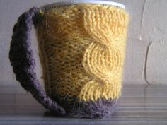 Yellow Cable Knit Coffee Cozy Tea Cozy Cup by MariyaMukhaembroeder