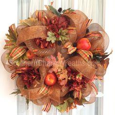 Deco Mesh FALL Wreath Brown Copper Apples Hydrangeas Door Wreath