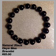 Natural Black Onyx w/Sliver Spacer Men $25.00