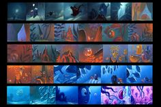 The process of animation is long and complex. A typical Pixar animation takes four to five years to complete. Pixar's filmmaking process is a design process, alternating iterations of planning and. Disney Concept Art, Art Disney, Disney Kunst, Color Script, Animation Disney, Animation Film, Zbrush, Line Art, Storyboard Drawing