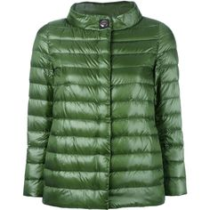 Herno high neck buttoned jacket (27.220 RUB) ❤ liked on Polyvore featuring outerwear, jackets, green, high neck jacket, herno jacket, feather jacket, polyurethane jacket and green jacket