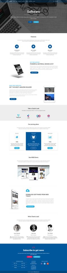 Fully responsive Software Landing Page Template, created with Material Design for Bootstrap