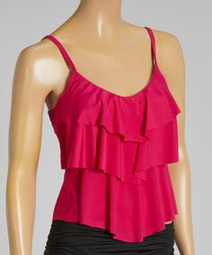 Loving this Berry Ruffle-Licious Tier Ruffle Tankini Top on #zulily! #zulilyfinds