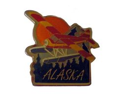 """ALASKA State vintage lapel cloisonne enamel pin souvenir airplane by VintageTrafficUSA  11.00 USD  A vintage Alaska pin! Excellent condition. Measures: approx 1"""" Add inspiration to your handbag tie jacket backpack hat or wall. Have some individuality = some flair! 20 years old hard to find vintage high-quality cloisonne lapel/pin. Beautiful die struck metal pin with colored glass enamel filling. -------------------------------------------- SECOND ITEM SHIPS FREE IN USA!!! LOW SHIPPING…"""