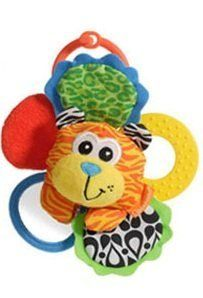 "Infantino Rattle Pal, Zebra or Tiger by Infantino. $11.24. Darling little rattles feature bright, colorful animals to stimulate baby's senses. Measures appx. 5 inches across. Includes three crinkly ""petals,"" a mirror and a teether ring. Clip ring at the top allows you to hang from car seat or stroller. Please indicate your choice of tiger or zebra with your order."
