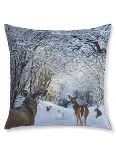 Buy the Woodland Scene Cushion from Marks and Spencer's range. Printed Cushions, Cushions On Sofa, Sofa Throw, Throw Pillows, Faux Fur Bean Bag, Cotton Throws, Christmas And New Year, Christmas Decor, Interior Accessories