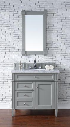 "Brittany 36"" Single Sink Bathroom Vanity Cabinet - Urban Gray Finish - Carrara White Marble Countertop - Matching Mirrors"