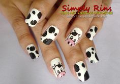 Cow nail art design, I love cows! Animal Nail Designs, Animal Nail Art, Cute Nail Designs, Nail Art Pen, Cute Nail Art, Cute Acrylic Nails, Nail Swag, Nail Art Motif, Nextgen Nail Colors