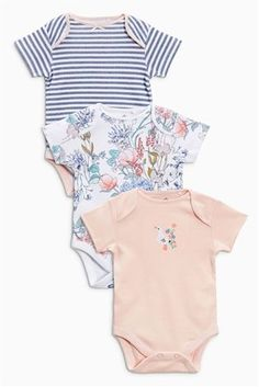 Pink Floral Short Sleeve Bodysuits Three Pack (0mths-2yrs)