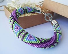 Geometric triangle Teal Purple Green Beadwork bracelet Gift
