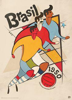 Brasil 1950 - World cup poster by Neil Stevens Sports Art, Kids Sports, Sports Logos, 1950 World Cup, Neil Stevens, Football Design, Retro Football, Vintage Football, Association Football