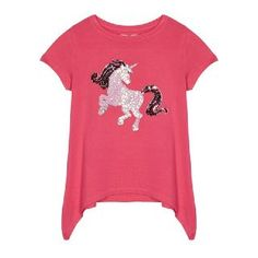 Brighten up your little one's daytime collection with this lightweight top from bluezoo. In a bold shade of pink, it showcases a colourful and glistening sequinned unicorn design and is finished with a hanky hemline. Photo S, Pink Girl, Kids Girls, Unicorn, Kids Fashion, Girl Outfits, Fishing Photos, Mens Tops, 5th Birthday
