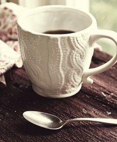 ♥cozy cable knit coffee cup :)
