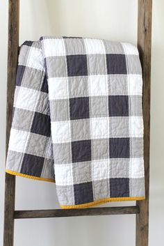 craftyblossom: gingham patchwork quilt - navy and mustard