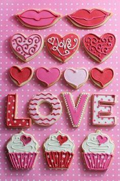 Valentine cookies using letter cookie cutters and heart cookie cutters Cookies Cupcake, Fancy Cookies, Heart Cookies, Iced Cookies, Cute Cookies, Royal Icing Cookies, Cookies Et Biscuits, Sugar Cookies, Cookie Favors