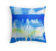 Beautiful Watercolor Blue Green Abstract Throw Pillow