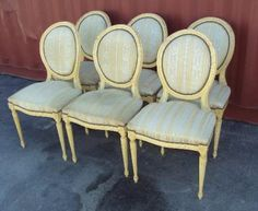 Set Of 6 French Antique Louis XVI Style Dining Chairs  Antiques: Furniture  SKU: MAL500201NM1880  Best Price: $1,880.00 (USD)    Shipping Continental US: Request Quote  We Ship Worldwide: Request Quote         Payment Policy    Return Policy    Shipping Policy    Ask A Question  This is a very nice and elegant set of 6 Louis XVI Style cream-colored dining chairs made from solid beech by the beginning of the 20th century consisting of a medallion seatback standing upon a large serpentine…