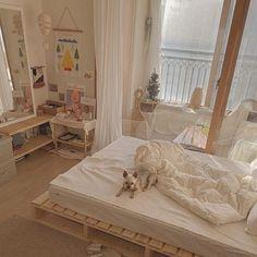 Room Design Bedroom, Small Room Bedroom, Room Ideas Bedroom, Simple Bedroom Design, Cosy Bedroom, Bedroom Inspo, Bedroom Inspiration, Korean Bedroom Ideas, Beige Room