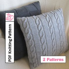 Knit pillow cover patterns, Classic Cable and Simple Squares 18 x18 pillow covers - PDF KNITTING PATTERN Bundle of 2