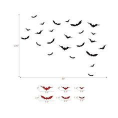 MairGwall Halloween Wall Decor- Flying Bats Vinyl Gothic Art Sticker... ($16) ❤ liked on Polyvore featuring home, home decor, wall art, gothic home decor, vinyl wall art, black wall art, vinyl home decor and goth home decor