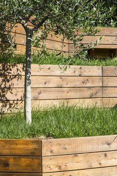 jardin en pente avec arbres, gazon et murs de soutènement en pin                                                                                                                                                                                 Plus