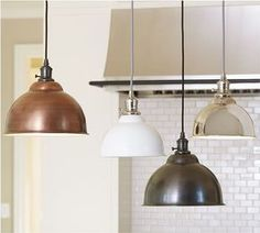 Remodeling Kitchen Lighting PB Classic Pendant - Metal Bell COPPER LIGHTING above kitchen island - Add industrial appeal to spaces big and small with our versatile Metal Bell Pendant, and customize it to suit your style. Kitchen Lighting Over Table, Kitchen Island Lighting, Kitchen Lighting Fixtures, Kitchen Pendant Lighting, Kitchen Pendants, Pendant Light Fixtures, Island Pendants, Kitchen Lamps, Pendant Chandelier