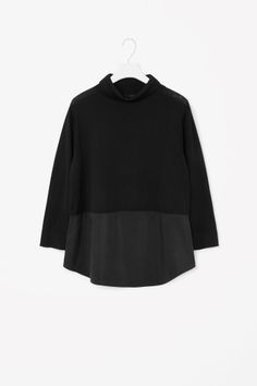 COS image 2 of Silk panel high-neck jumper in Black