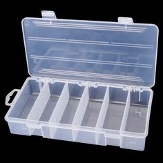 Transparent Portable 6 Compartments Fishing Tackle Box -- Visit the image link more details.