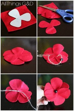 Memorial day design fun diy felt poppies in honor of memorial day, crafts, patriotic decor ideas, seasonal holiday decor, wreathsMemorial day diy DIY Felt Poppies - step by step instructions and a template included. Felt Diy, Felt Crafts, Fabric Crafts, Sewing Crafts, Diy Crafts, Felt Flowers, Fabric Flowers, Paper Flowers, Diy Flowers