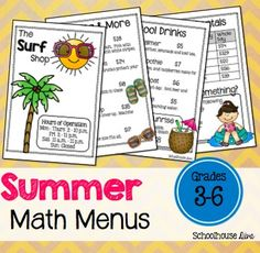 3 adorable and engaging summer math activities. 3 math menus and 3 worksheets included! These activities measure student's problem solving and reasoning skills. Students will solve math problems using the restaurant menus. There are 3 menus included: The Lemonade Stand Flying Acrobats Circus The Surf Shop *** All menus come in COLOR