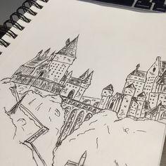 Hogwarts ink sketch