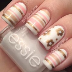 Looking for new nail art ideas for your short nails recently? These are awesome designs you can realistically accomplish–or at least ideas you can modify for your own nails! - Credits to the owner of the image - Striped Nail Designs, Striped Nails, Nail Art Designs, Nails Design, Great Nails, Fabulous Nails, Gorgeous Nails, Nagellack Party, Nails Polish