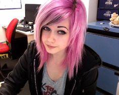 medium length scene pink choppy razored layered hair