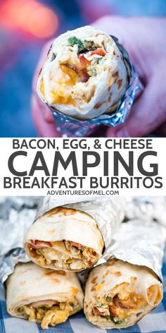 Make the best homemade breakfast burritos filled with scrambled eggs, cheese, an. - Make the best homemade breakfast burritos filled with scrambled eggs, cheese, and all the bacon. Breakfast And Brunch, Homemade Breakfast, Bacon Breakfast, Ideas For Breakfast, Campfire Breakfast, Breakfast Wraps, Quick And Easy Breakfast, Camping Breakfast Burritos, Camping Breakfast Recipes