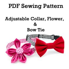 Adjustable Dog Collar or Cat Collar, PDF Instant Download Sewing Pattern, plus Flower Decoration and Bow Tie Instructions