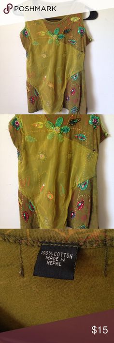 Hippie Gypsy Nepal Tank Floral Embroider Top Embroider Floral top, made in Nepal. Size small. Good condition. Normal fabric wear. No rips or stains Tops Tank Tops
