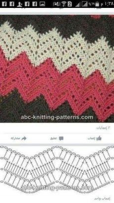 Best 8 Herringbone, Zig Zag Crochet Stitches for Free. Zig Zag Crochet Pattern, Crochet Motifs, Crochet Diagram, Crochet Stitches Patterns, Crochet Chart, Free Crochet, Knitting Patterns, Crochet Ripple Blanket, Gilet Crochet
