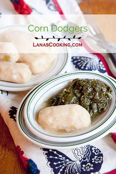 Corn dodgers are a very old Southern recipe served as an accompaniment to turnip greens. They are similar to a cornmeal dumpling. From /NevrEnoughThyme/ http://www.lanascooking.com/corn-dodgers via /NevrEnoughThyme/