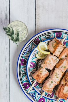 Recipe Box: Salmon Kabobs With Dill Clarified Butter - Lauren Conrad Healthy Foods To Eat, Healthy Cooking, Healthy Eating, Healthy Recipes, Salmon Recipes, Seafood Recipes, Paleo Meal Plan, Clarified Butter, Fish Dishes