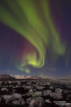 Northern Lights at the Iceberg Beach