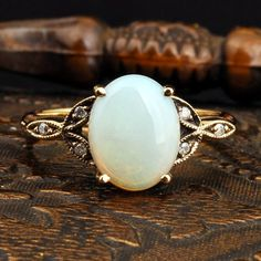 Vintage Opal Diamond Gold Ring