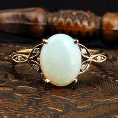 Vintage Opal Diamond Gold Ring