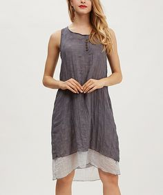 Another great find on #zulily! Simply Couture Gray Button-Accent Layered Dress by Simply Couture #zulilyfinds